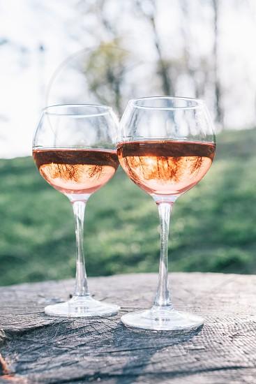 two wine glasses photo