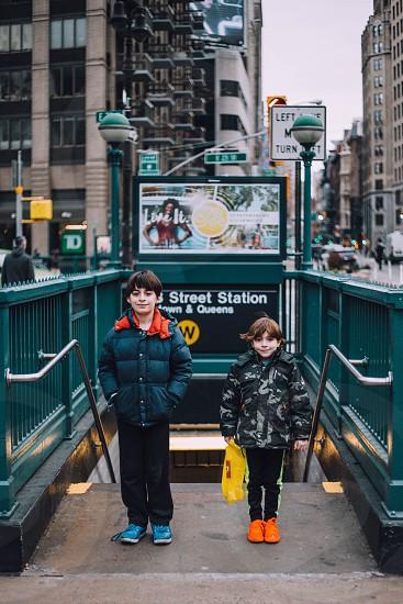 NYC subway kids boys brothers photo