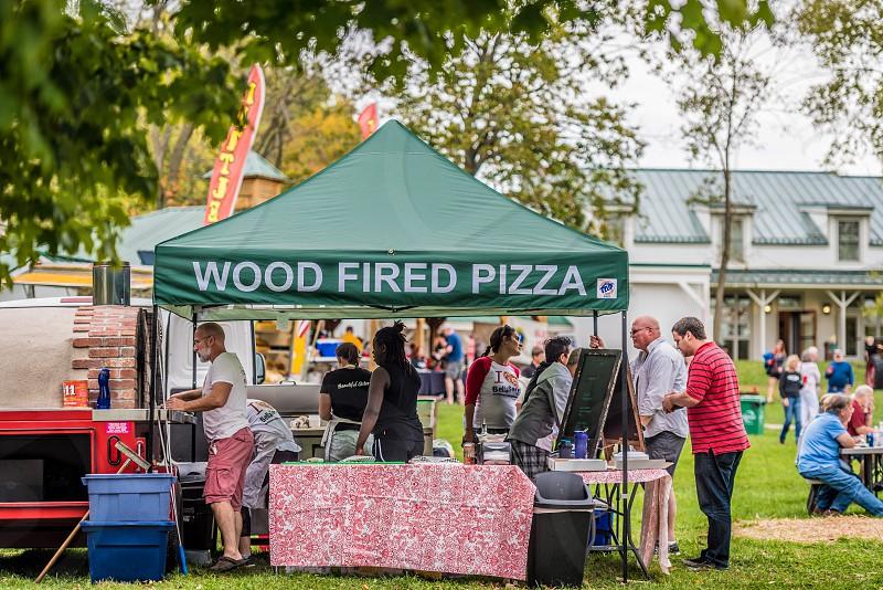 Wood fire pizza vendor at a festival. photo