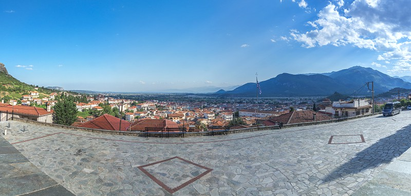 Panoramic top view of the Kalambaka city  in Greece from the side of the ancient Byzantine church photo