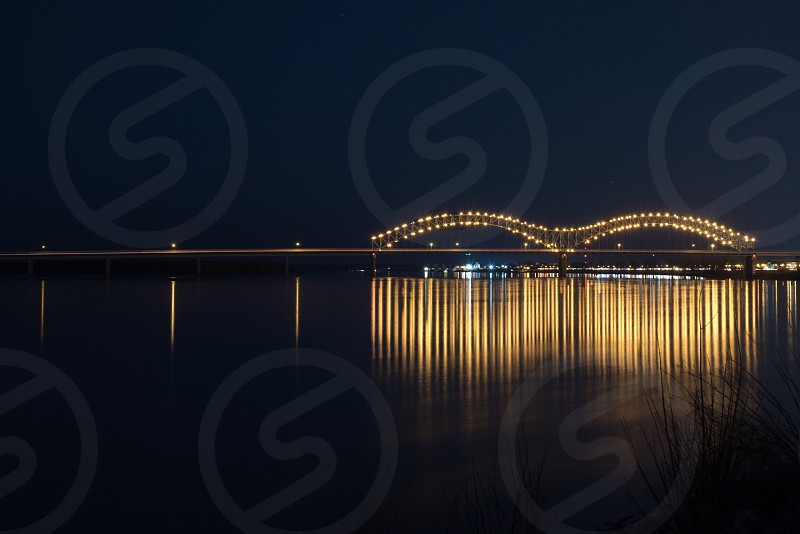 Bridge river lights reflection long exposure night water structure photo
