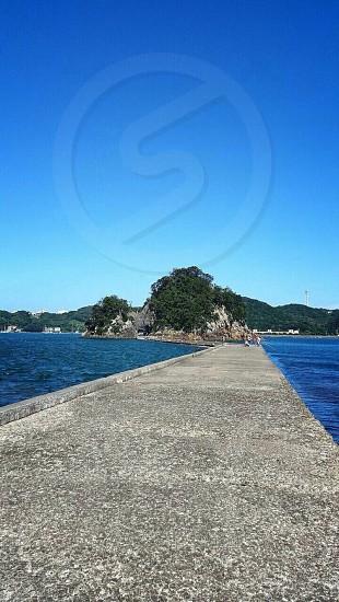 堤防 釣り 海 青空 自然 夏 photo