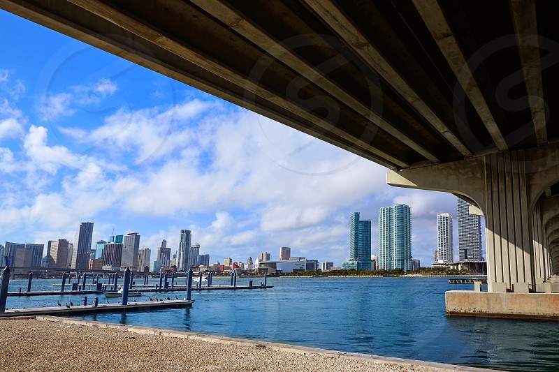 Miami downtown skyline from under bridge in Florida USA sunny day photo