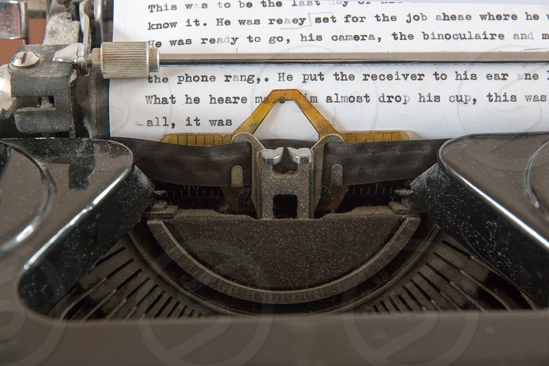 Typewriter with a text in progress photo