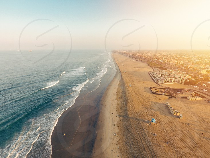 Drone beach sunset ocean nature  photo