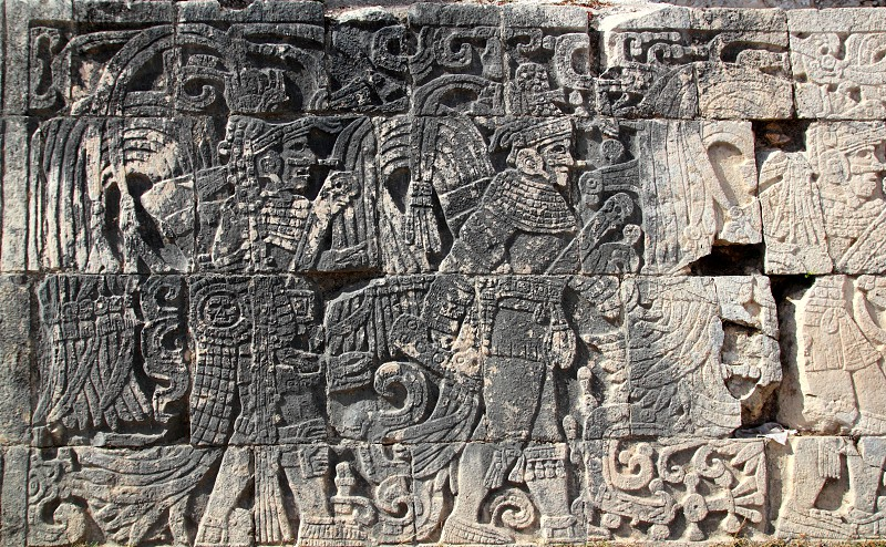 Chichen Itza hieroglyphics mayan pok-ta-pok ball court  Mexico photo