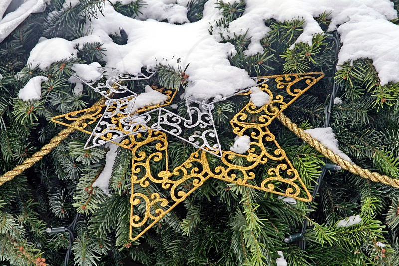 Gold and silver christmas decoration on a pine tree covered with snow photo