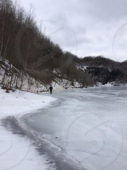 Lake frozen soiled cold winter snow Mountain photo