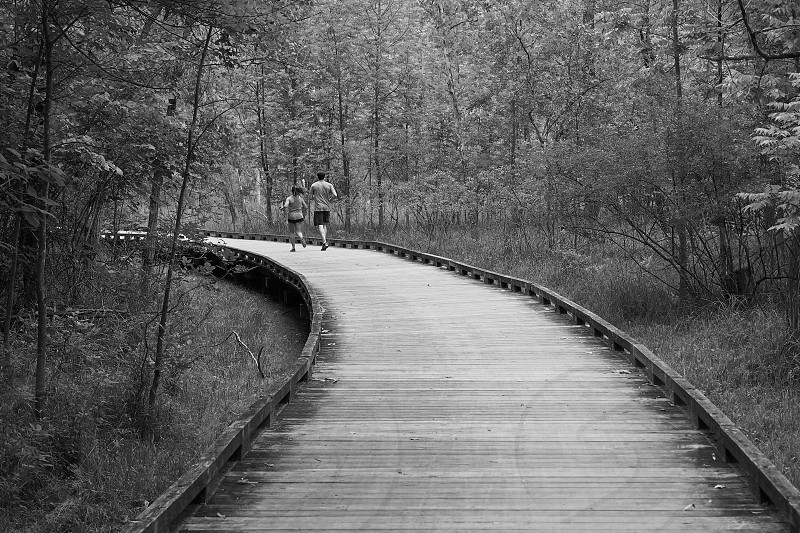 Joggers on boardwalk. Black and White. Monochrome. Ohio Erie canal towpath.  photo