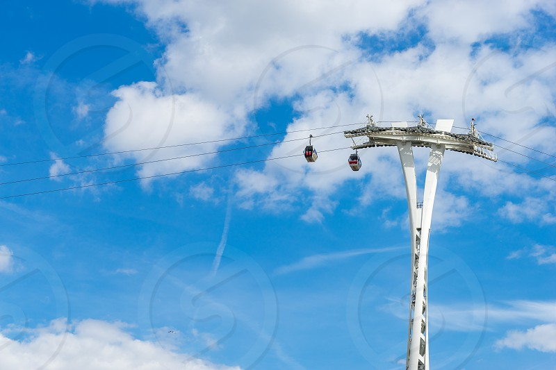 View of the London cable car over the River Thames photo