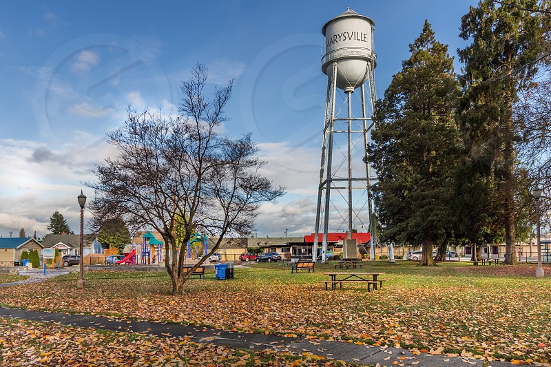Water tower in park Marysville Washington Snohomish County photo