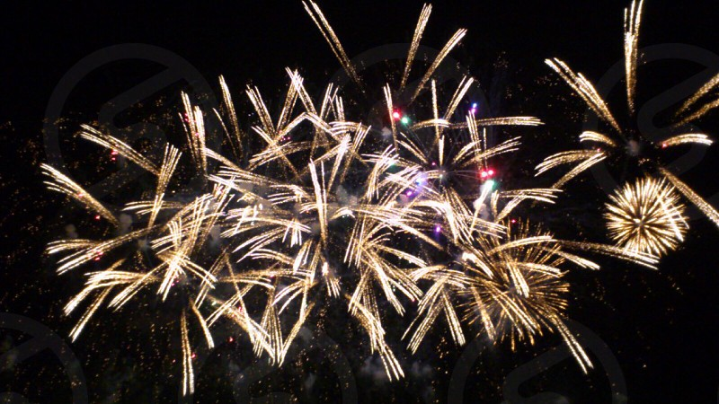 golden fireworks photo