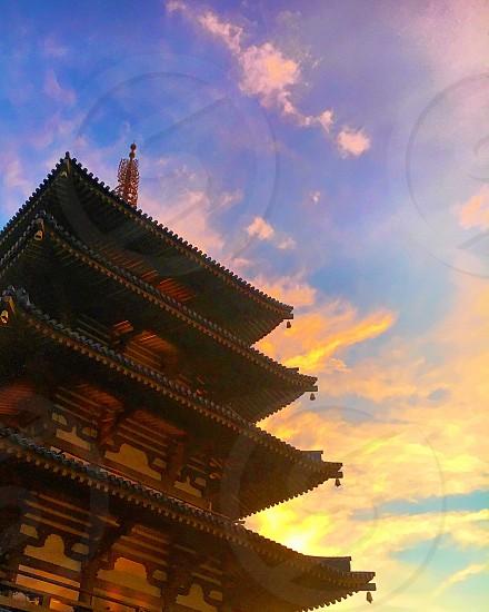 Sunset pagoda tower Japan travel  photo