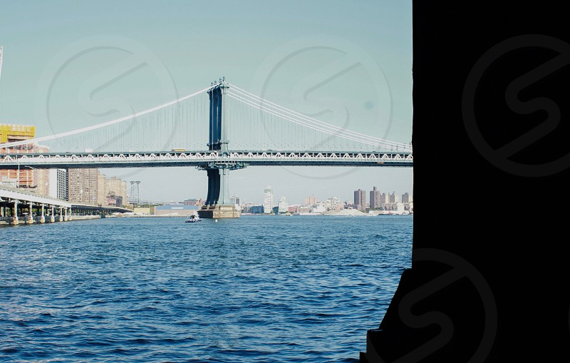 landscape photograph of wire stayed bridge photo