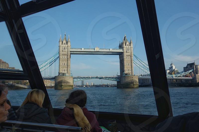 View of Tower Bridge London from inside of a river boat... photo