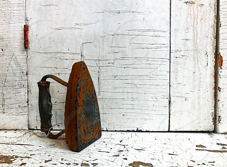 Old fashioned vintage metal iron photo
