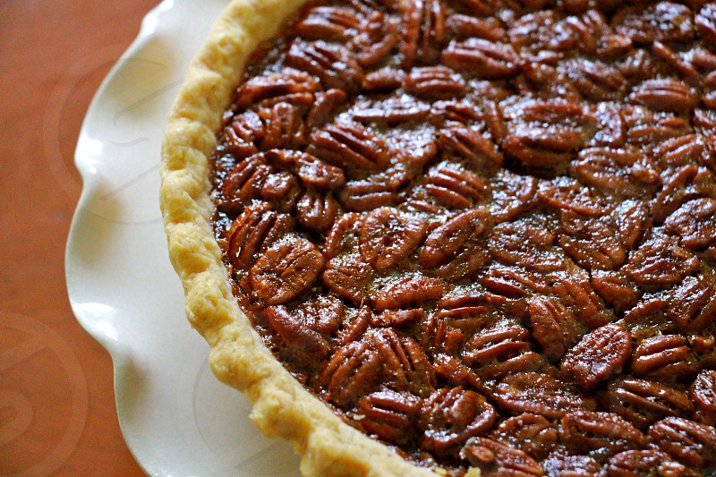 brown nuts pie on white plate photo