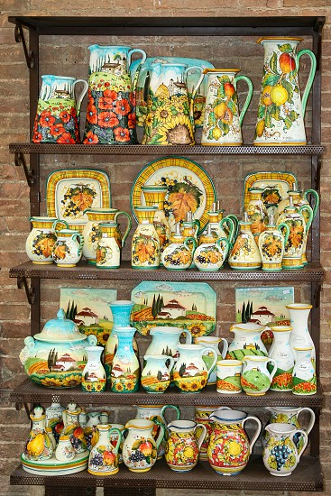 typical tuscan pottery souvenirs photo