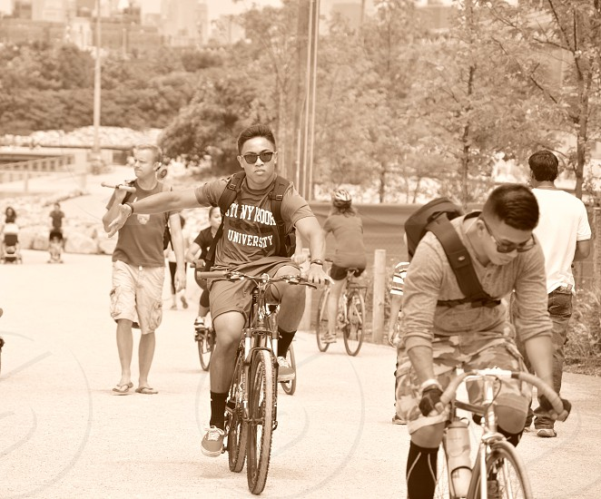 Taking a ride through Brooklyn bridge park with some friends. photo