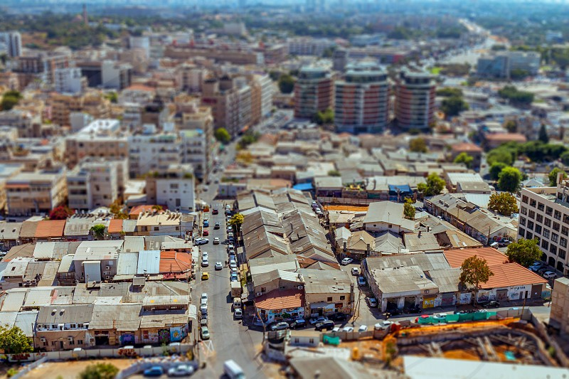 Aerial view of south Tel Aviv neighborhoods cityspace. A combination of new and old construction. Tilt shift. photo