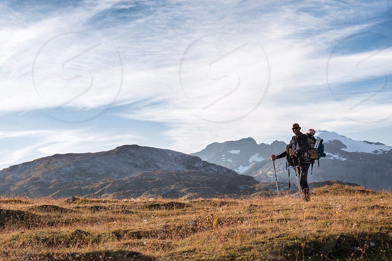 Hike walk active sports mountain mountains path track Alps France person persons people leisure nature park photo