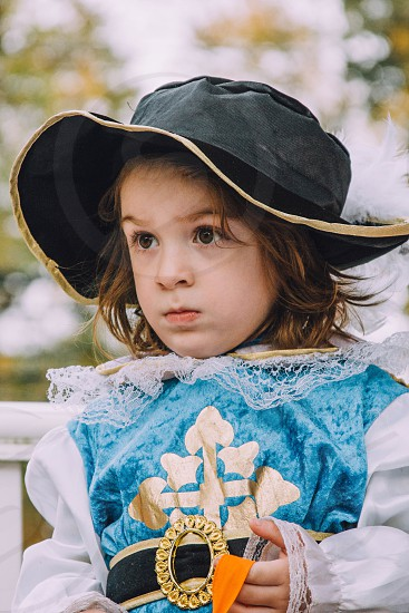 Musketeer costume Halloween fall autumn child boy hat funny dress up photo