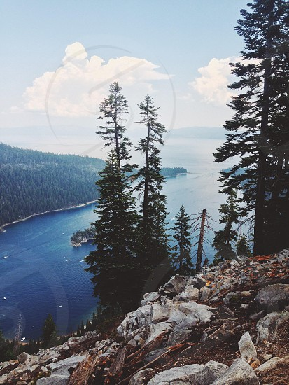 Lake tahoe's emerald bay from hiking up.  photo
