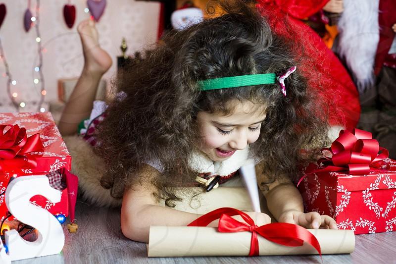 Winter holiday santa home tree baby kid happy joy love merry Christmas sweet box present smile child angel family letter santa sweet studio wish photo