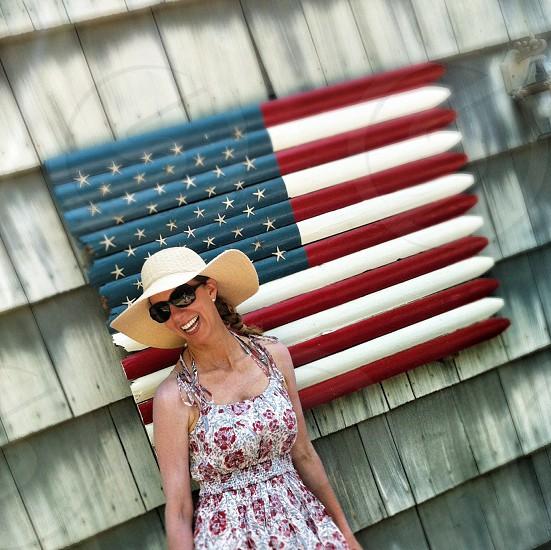 wood american flag  photo