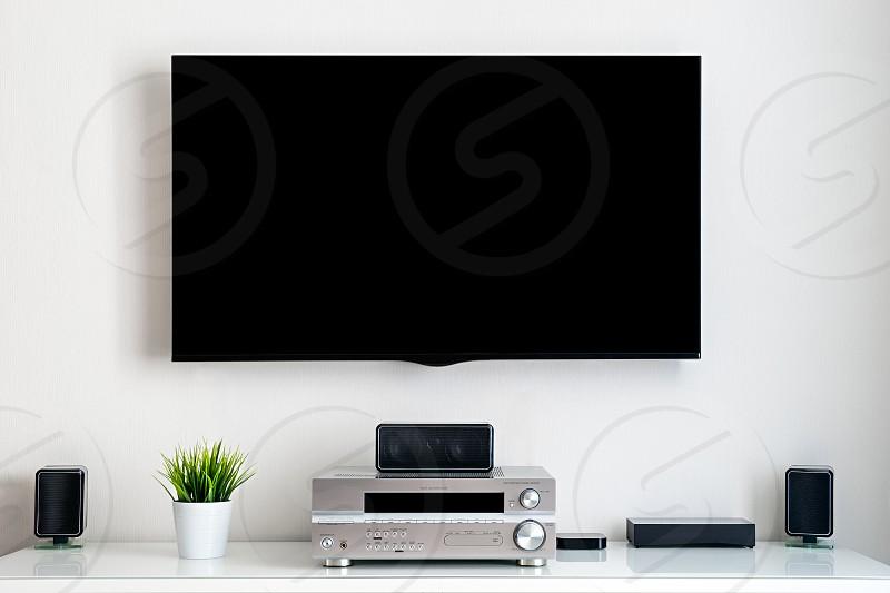 Home multimedia center setup in room photo