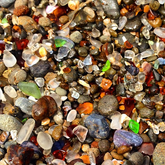 Sea glass colors shapes stones  taken at Fort Bragg Ca photo