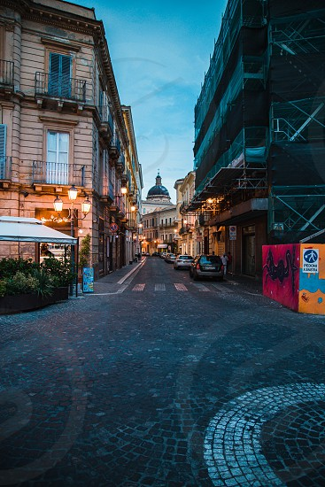 Chieti Italy - August 2019: Historic center of Chieti in Abruzzo during the blue hour photo