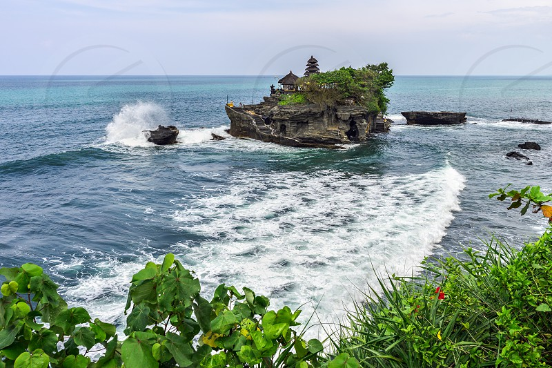Tanah Lot seascape from above photo