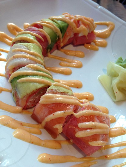 Arlington Texas. Pictured is the Rainbow Roll sushi. photo