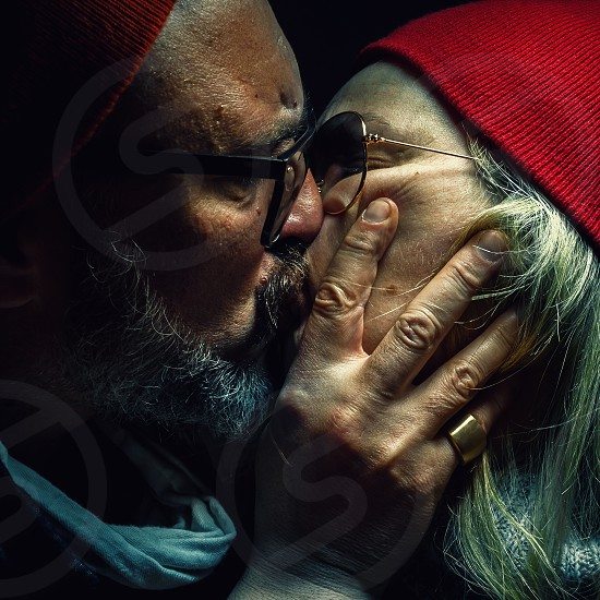 Portrait of a man and woman deeply loved and hugged.  photo