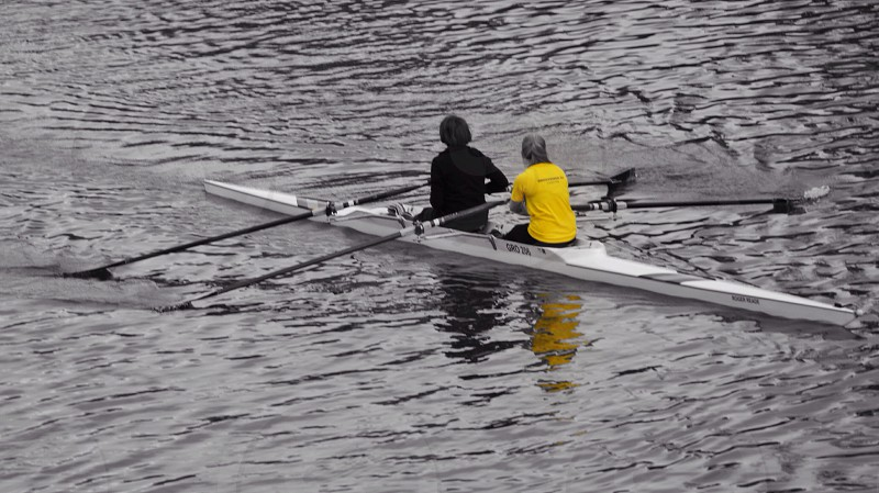 2 person riding kayak photo