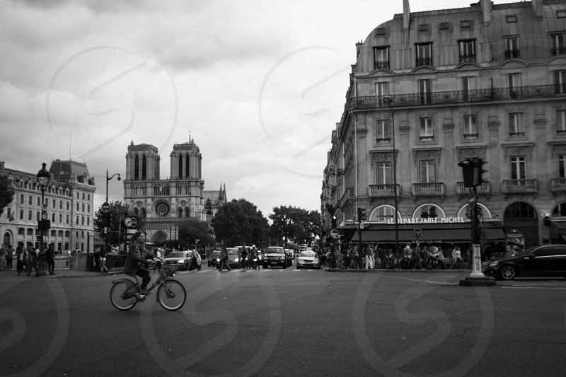 paris france street bicycle notre-dame  photo