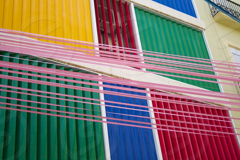 Coloured shades on the side of an industrial unit in Spain. photo