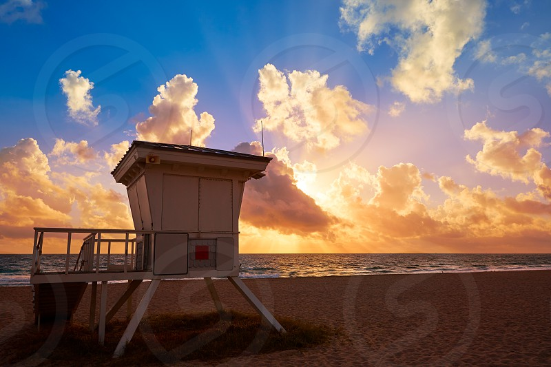 Fort Lauderdale beach morning sunrise in Florida USA baywatch tower photo