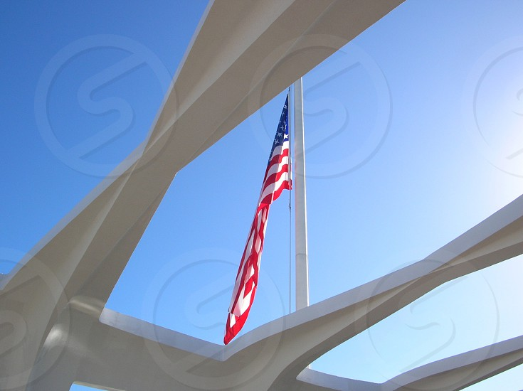 Looking up to the sky through the roof at Pearl Harbour flag memorial photo