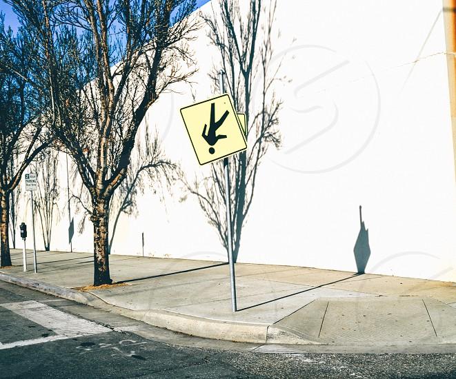 Street sign walk shadows photo
