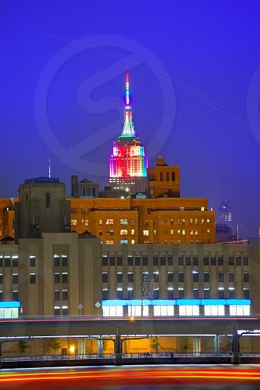 Manhattan sunset skyline New York Empire State building USA photo
