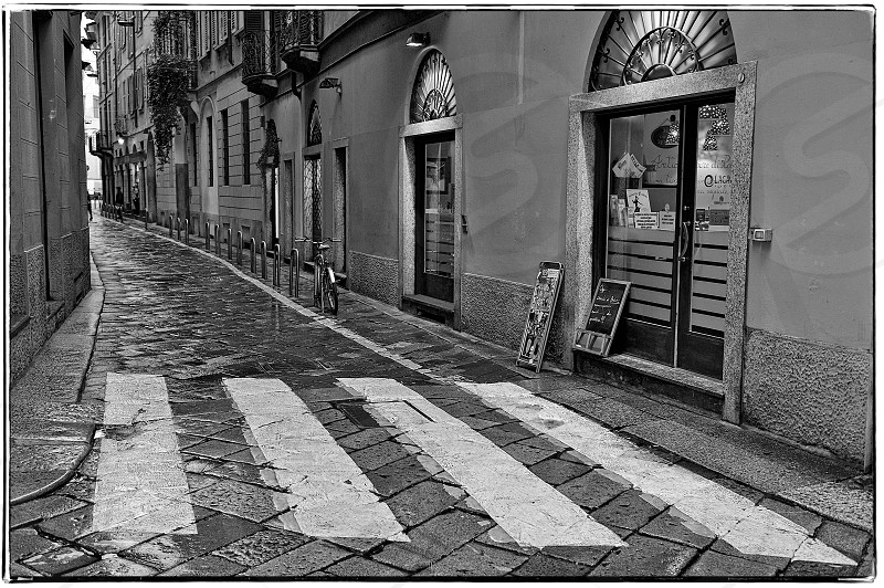 Downtown Milano Italy the old city - black and white photo