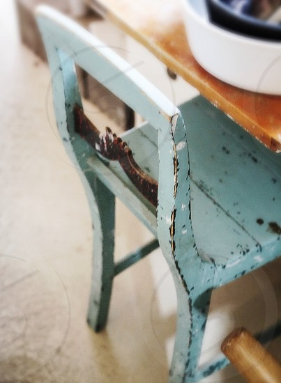 Still life object objects chair vintage paint abstract furniture design interior chair seat paint painted rustic blue wooden wooden chair patina  photo