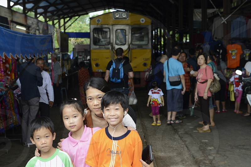 the Maeklong Railway Markt at the Maeklong railway station  near the city of Bangkok in Thailand in Suedostasien. photo