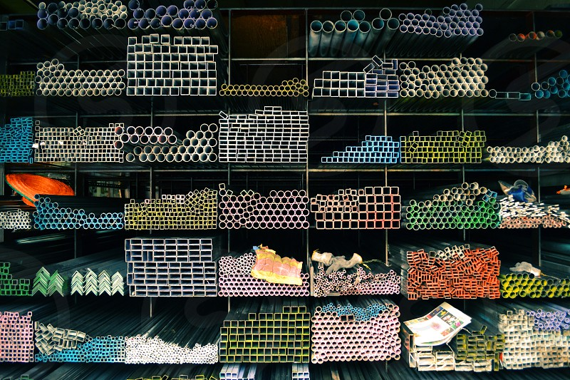 Steal profiles and pipes colorful geometric shapes Bangkok Thailand photo