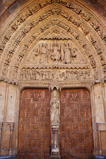Cathedral of Leon door gothic arch in Castilla at Spain photo