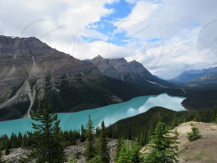 Peyto Lake Alberta Canada Adventure nature hike climb outdoors turquoise waters trees forest park National Park green mountains blue sky fluffy clouds fun natural beautiful photo
