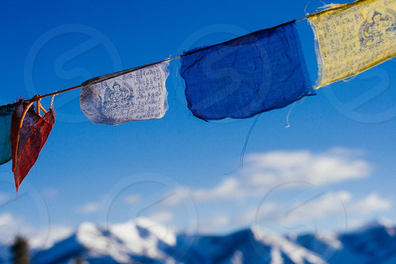 Prayer flags seen in the mountains of Idaho photo