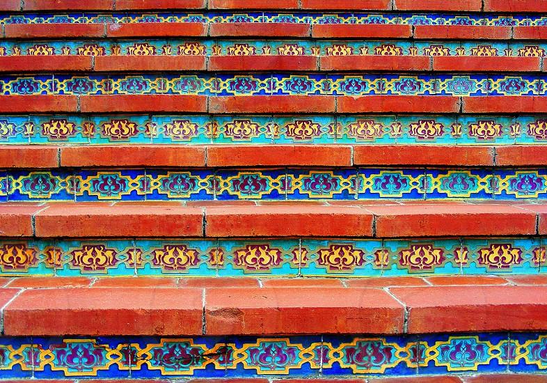 Tile stairway at Hearst's Castle San Simeon CA photo